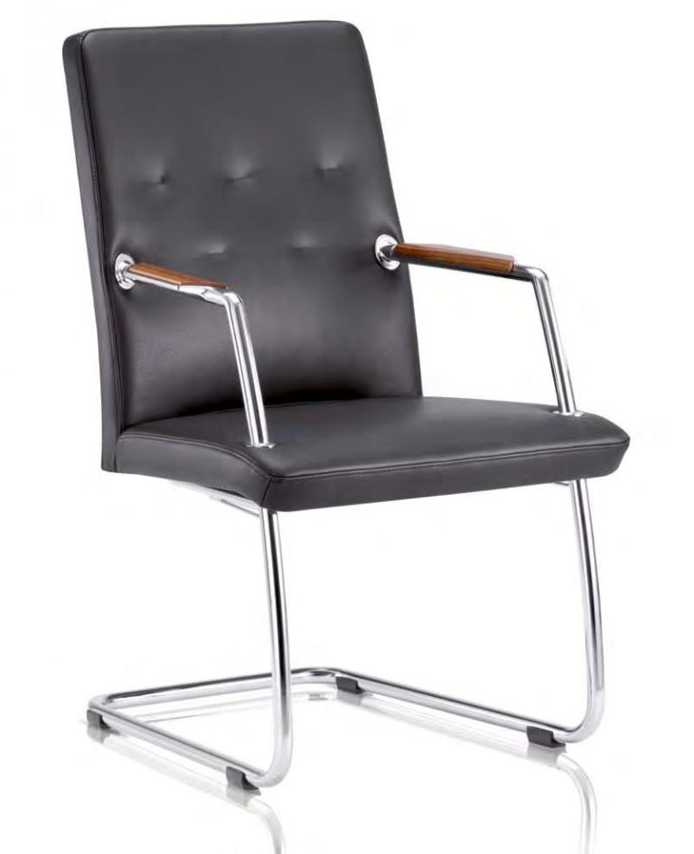 Freischwinger Stuhl SITAG CCONTACT in schwarzem Leder